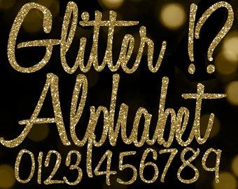 Gold Glitter Alphabet Clipart: Glitter Alphabet Clip Art, Gold Glitter Letters, Cursive Font, Gold Alphabet Letters, Gold Glitter Numbers
