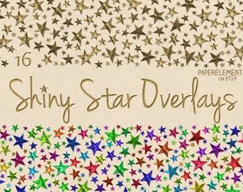 Gold Star Clipart: Stars Clip Art, Star Images, Silver Star Overlay, Star Border Clipart, Border Star Graphics, Unique Clipart, Digital Star