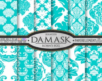 Aqua Blue Damask Digital Paper Pack: Robin's Egg Blue Damask Patterns, Bright Blue Damask Scrapbook Paper, Blue Damask Digital Download