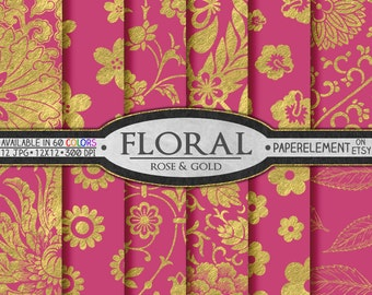 Metallic Gold and Pink Paper: Pink and Gold Paper with Fuschia and Gold Roses - Gold and Fuschia Rose Floral Patterns Digital Download
