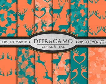 Coral and Teal Deer Backgrounds: Teal and Coral Deer Digital Paper, Teal and Orange Patterns, Orange and Teal Scrapbook Paper, Coral Orange