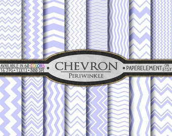 Periwinkle Purple Chevron Digital Paper Pack - Instant Download - Digital Scrapbook Paper with Chevron Stripe