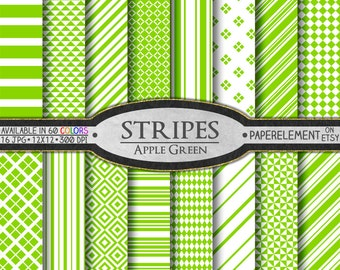 Apple Green Stripe Digital Backgrounds - Printable Paper Patterns for Scrapbooking - Instant Download