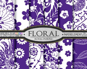 Purple Floral Paper: Scrapbook Paper Flower, Royal Purple Floral Digital Scrapbook Paper - Flower Digital Paper