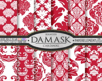 Cardinal Red Damask Digital Paper Set: Red and White Printable Patterns, Ornamental Scrapbooking Paper, Ornate Designs Seamless Backgrounds