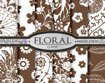 Brown Floral Paper: Coffee Brown Floral Digital Paper Pack - Printable Flower Backgrounds - Instant Download