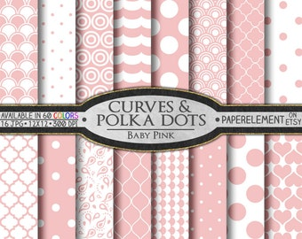 Blush Pink Digital Paper - Baby Pink Backgrounds - Soft Pink Patterns - Pink Polka Dots, Quatrefoil, Waves and Pink Hearts - Pink Paisley