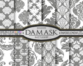 Gray Damask Digital Paper: Gray Damask Paper, Gray Digital Damask Paper, Gray and White Damask, Gray Damask Background, Gray Damask Download