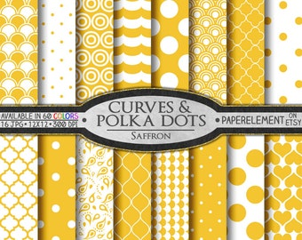 Saffron Yellow Polka Dot Digital Paper: Yellow Geometric Paper - White and Yellow Patterns for Downloadable Printable Scrapbook Layouts