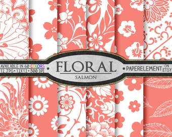Salmon Pink Flower Digital Paper Pack - Floral Digital Scrapbook Paper - Instant Download