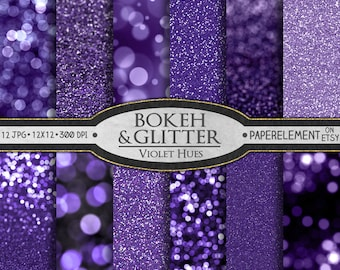 Purple Glitter Paper: Violet Glitter Printables, Purple Printable Bokeh, Purple Bokeh Digital Download, Violet Bokeh Digital Photo Backdrop