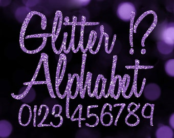 Purple Glitter Alphabet Clipart: Digital Glitter Alphabet Clip Art, Purple Glitter Letter, Glitter Letter PNGs, Purple Digital Alphabet File