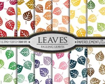Falling Leaves Digital Paper: Leaf Digital Paper, Fall Leaf Paper, Leaf Backgrounds, Leaf Patterns in Red, Orange, Yellow, Green, Pink, Gray