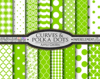 Apple Green Polka Dots Digital Scrapbook Paper - Digital Polka Dots Shapes Backdrop with Hearts Background and Printable Quatrefoil Pattern