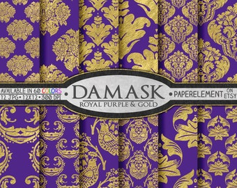 Royal Purple and Gold Scrapbook Paper - Gold and Purple Scrapbook Paper - Metallic Backdrops for Gold and Purple Birthday, Digital Weddings