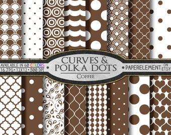 Coffee Brown Polka Dot Digital Paper: Brown Digital Polka Dot Pattern - Polka Dot Scrapbook Patterns with Mocha Printable Wave Background