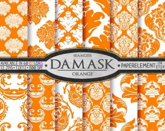 Orange Damask Digital Paper Pack - Printable Scrapbook Paper Patterns - Instant Download