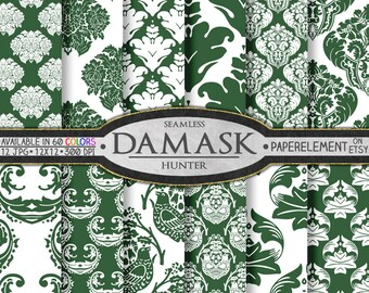 Hunter Green Damask Digital Paper Pack - Printable Scrapbook Paper Patterns - Instant Download