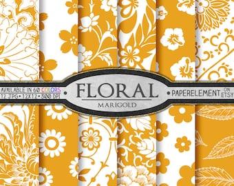 Marigold Orange Floral Paper Pack for Scrapbooking - Digital Patterns - Printable Flower Backdrop - Instant Download