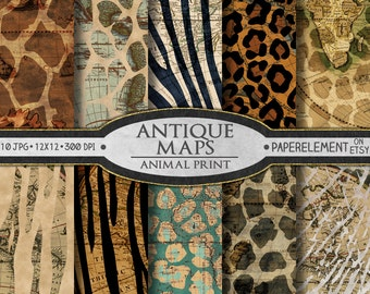 Antique Map Printable Paper: Old World Maps Scrapbook Paper Animal Print Patterns - Vintage Maps Zebra, Tiger, Giraffe - Instant Download