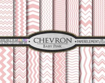 Baby Pink Chevron Digital Paper Pack - Instant Download - Chevron Paper for Digital Scrapbooking