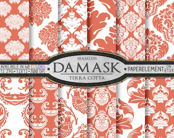 Orange Damask Digital Scrapbook Paper - Terra Cotta Printable Backgrounds in Earth Colors - Instant Download