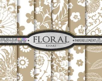 Khaki Floral Paper Pack for Scrapbooking - Digital Patterns - Printable Flower Backdrop - Instant Download