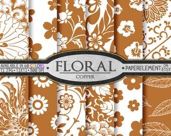 Copper Flower Digital Paper Pack for Scrapbooking - Printable Floral Backgrounds - Instant Download