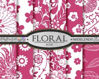 Rose Printable Floral Backgrounds: Pink Digital Paper - Instant Download Pink Scrapbook Paper