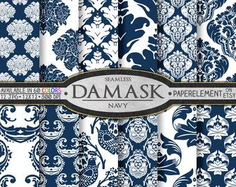 Navy Blue Digital Paper: Navy Blue Damask Digital Paper, Blue Damask Printable, Navy Blue Printables, Navy Blue Paper, Navy Digital Download