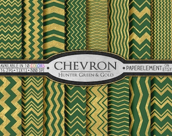 Hunter Green Chevron Digital Paper  - Christmas Digital Backgrounds, Scrapbook Paper - Instant Download