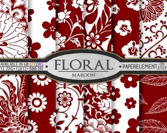 Maroon Floral Paper Pack for Scrapbooking Red - Digital Patterns - Printable Flower Backdrop - Instant Download