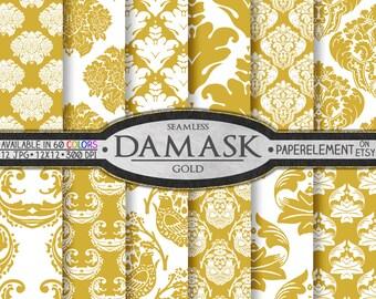 Gold Damask Digital Paper Set  - Printable Backdrops for Scrapbook Design - Instant Download