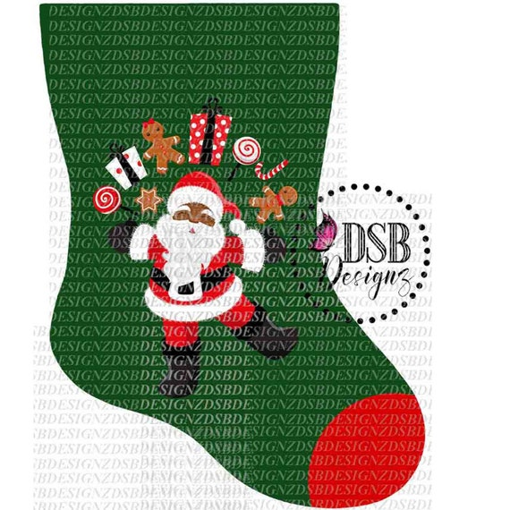 Christmas Stocking Clipart.Christmas Clipart Christmas Stocking Clipart Santa Clipart African American Clip Art Christmas Stocking Clip Art Sublimation Design