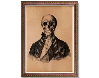 Vintage captain skull print Anatomy poster Anatomical illustration Medical decor