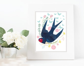 Swallow, Art Print, Nursery Art, Wall Decor, Kids Room, Print, Birds, Alphabet