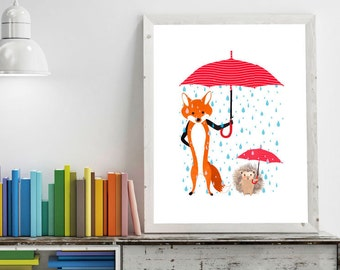 Hedgehog and Fox Under Rain Umbrella, Nursery Room, Decor, Children Room, Print, Art