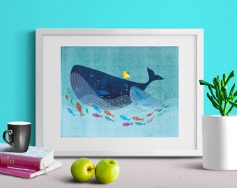 Yellow Bird on Mama and Baby Blue Whale, Nursery Wall Art, Print, Nursery Decor, Animals