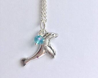 Sea Lion Necklace, Charm Necklace, Charm Jewellery, Sea Lion Charm, Sea Lion Jewellery, Marine Life Necklace, Ocean, Sealion, Seal,