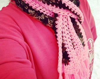 Pink and Camo Scarf / Camouflage / Granny Square Scarf / Hunting Accessories / Winter Clothing / Gear / Outdoor / Cold Weather