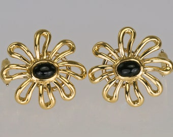 a194a6106 Paloma Picasso 18ct Gold Tiffany & Co. Onyx Daisy Flower Rare Vintage  Earrings