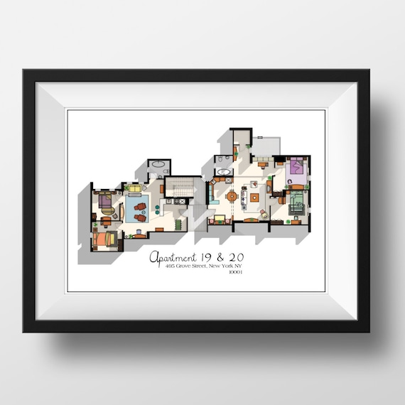 Friends Tv Show Apartment Floor Plan  Friends Tv Show Layout  The One With The Floor Plan Apartment Of Joey,Chandler,Monica And Rachel by Etsy
