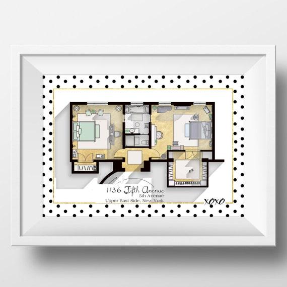 Elegant Gossip Girl Wohnung Grundriss   TV Show Grundriss   Blair Waldorf Und  Serena Van Der Woodsen Schlafzimmer Plan / Glam Poster