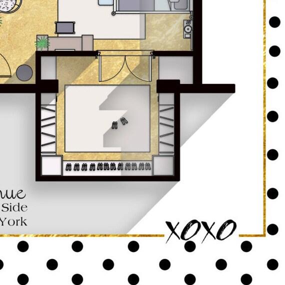 Gossip Girl Wohnung Grundriss   TV Show Grundriss   Blair Waldorf Und  Serena Van Der Woodsen Schlafzimmer Plan / Glam Poster