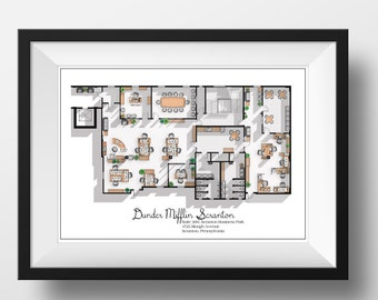 The Office US TV Show Office Floor Plan- Dunder Mifflin Scranton Office Layout - Gift for the Office TV show fan - The Office Poster