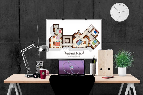 Big Bang Theory Kunstdruck Wohnung Grundriss TV | Etsy