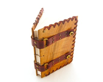 Gørsimi - Blackwood Leather Grimoire - Art Journal - Magic Journal - Viking Norse Tome - Book Art - Wood Book - Wooden Leather Journal