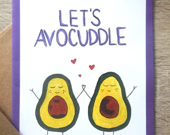 Zentangle Let's Avocuddle Greeting Card