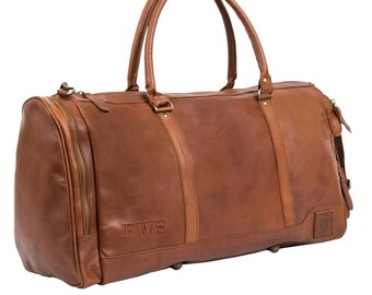 Handmade Leather Holdall/Duffle - Weekend Bag - Overnight Bag in Vintage Brown by MAHI Leather