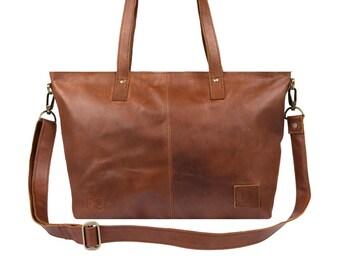 Ladies Leather Tote Handbag in Vintage Brown by MAHI Leather